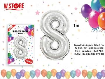Balon Folie Argintiu Cifra 8 /1m 048708