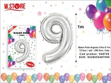 Balon Folie Argintiu Cifra 9 /1m 048709