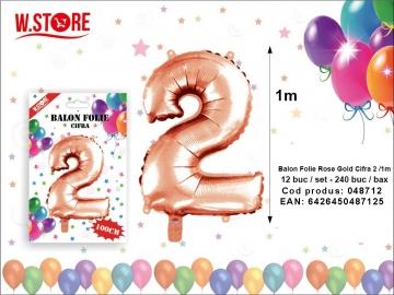 Balon Folie Rose Gold Cifra 2 /1m 048712