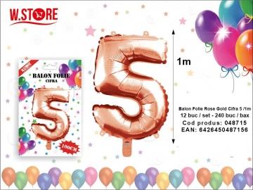 Balon Folie Rose Gold Cifra 5 /1m 048715