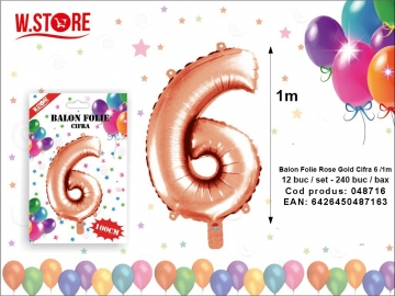 Balon Folie Rose Gold Cifra 6 /1m 048716