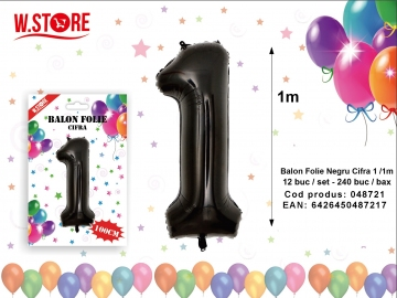 Balon Folie Negru Cifra 1 /1m 048721
