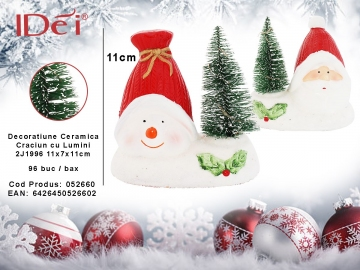 Decoratiune Ceramica Craciun cu Lumini 2J1996 11x7x11cm 052660