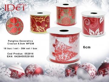 Panglica Decorativa Craciun 6.0cm WF238 052916