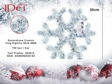 Decoratiune Craciun Fulg Argintiu 30cm 9806 053212