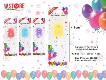 Lumanare Tort Cifra 8 Color 4.8x3.4x0.8cm 053332