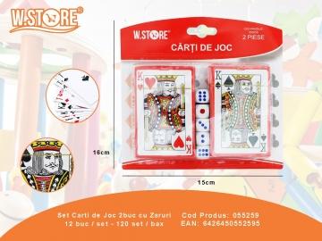 Set Carti de Joc 2buc cu Zaruri 055259