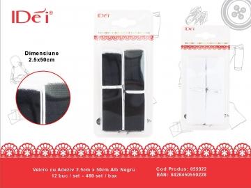 Velcro cu Adeziv 2.5cm x 50cm Alb Negru 055922