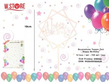Decoratiune Topper Tort Happy Birthday 058082 Transparent Reflexii Multicolore