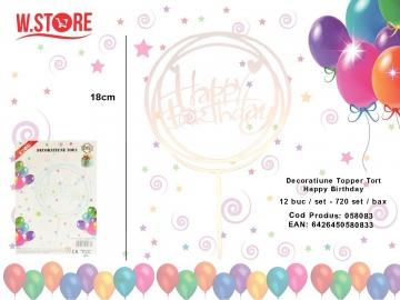 Decoratiune Topper Tort Happy Birthday 058083 Transparent Reflexii Multicolore