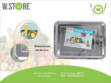 Tava Inox 40x30x2 cm. BUC0481