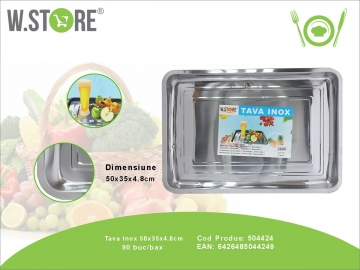 Tava Inox 50x35x5 cm. BUC0478