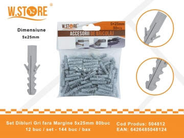 Set 80 Dibluri Fara Margine 5x25 mm BRI0149