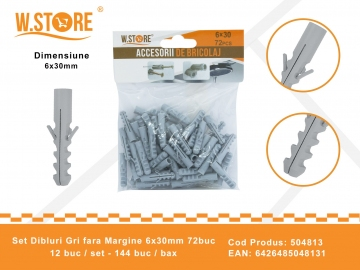 Set 72 Dibluri Fara Margine 6x30 mm BRI0148