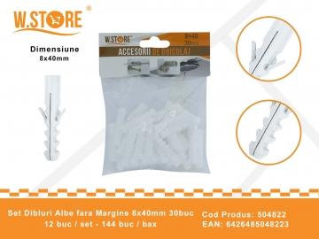 Set Dibluri Albe fara Margine 8x40mm 30buc 504822