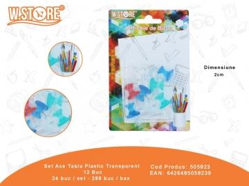 Set Ace Tabla Plastic Transparent 12 Buc 505823