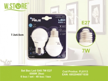 Set Bec Led G45 7W E27 6500K 2buc FL6113