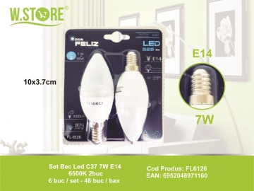 Set Bec Led C37 7W E14 6500K 2buc FL6126