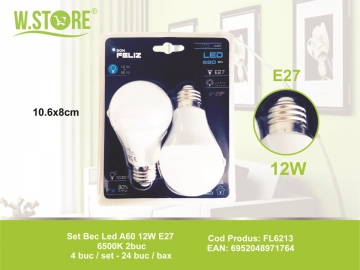 Set Bec Led A60 12W E27 6500K 2buc FL6213