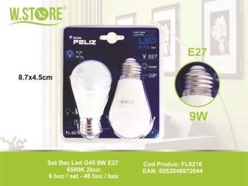 Set Bec Led G45 9W E27 6500K 2buc FL6216