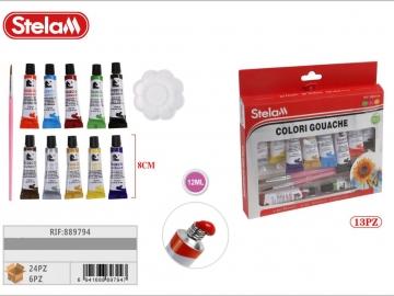 Set Culori Gouache cu paleta si pensula 12Piese 889794